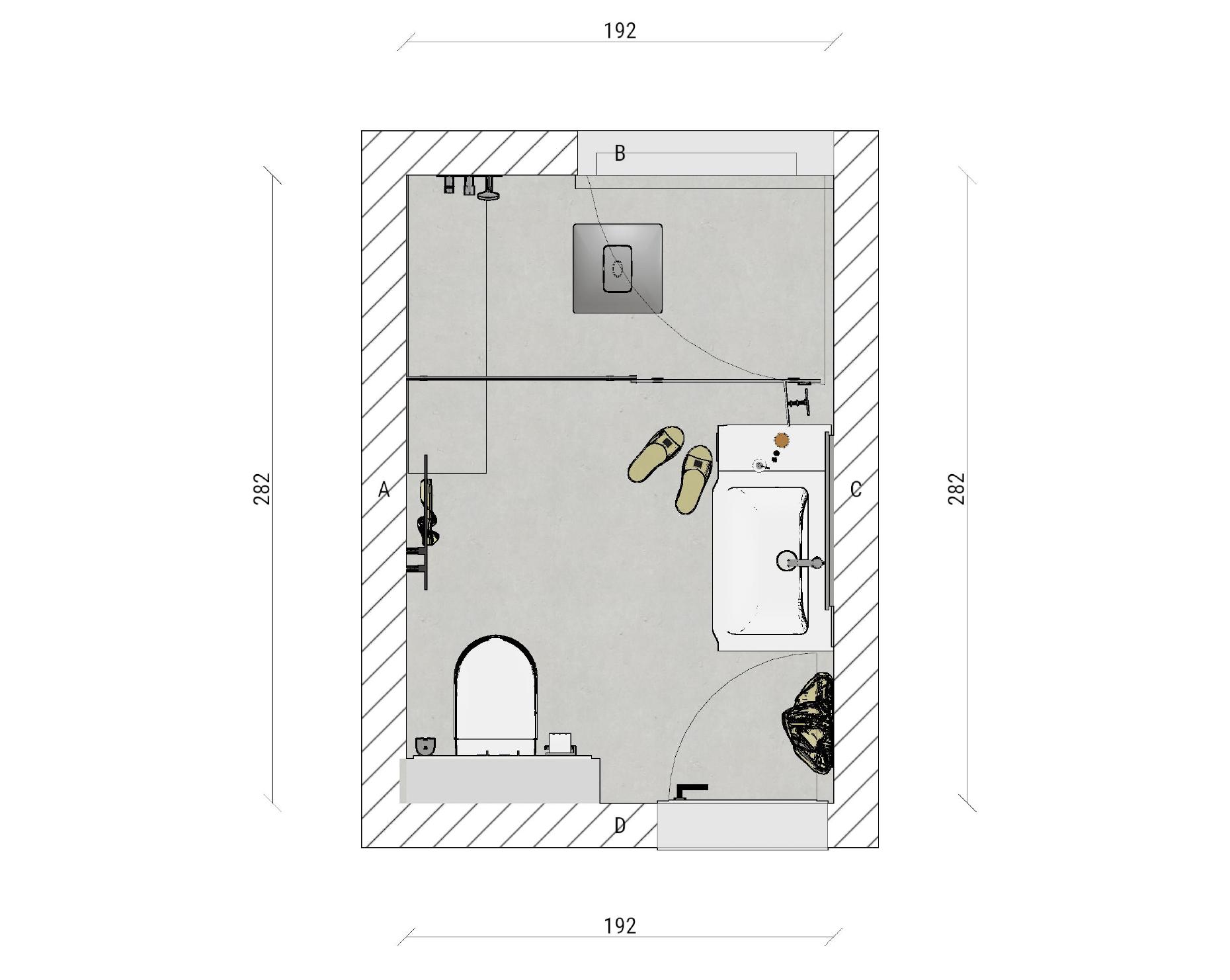 Skizze für eine Badplannung