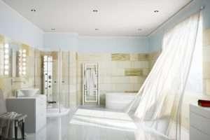 Man sieht ein moderenes eingerichtetes Badezimmer
