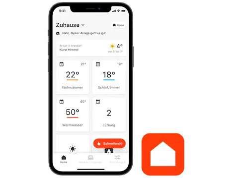 Man sieht den Startbildschirm von der Viessmann Vicare App
