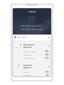 Man sieht dern Startbildschirm der GROHE Sense App