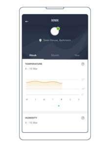 Man sieht Messwerte der GROHE Sense App